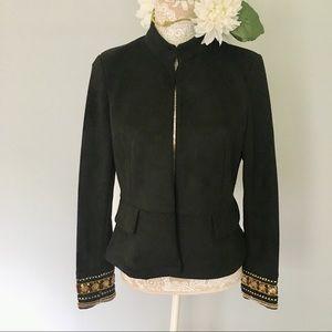 Zara // Black Suede Peplum Blazer Embellished Cuff